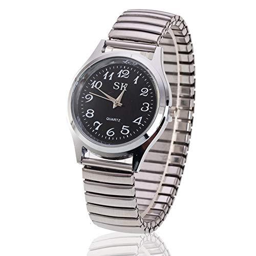 Mode Einfach Armbanduhr, Frühling Elastische Bänder Uhren, Herrenuhren Damenuhren für Mittleres Alter und Alten, Leicht zu Lesen, Nero