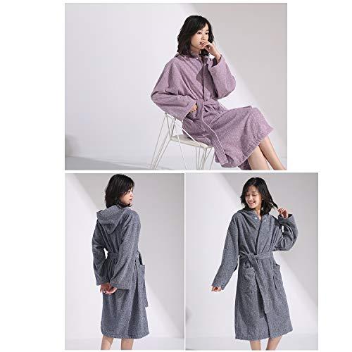 XUMING para Hombre de Las señoras de Albornoz Bata Bata de baño de Rizo Vestidos Estilo japonés 100% algodón Batas de Toalla Mujer de los Hombres,Púrpura,XL