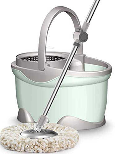 xinwan KOH Mop, Microfibra Spinning Magic Spin Mop Bucket Rotating 360 ° Fácil Piso Mop Lavable Gran lavapláneo húmedo (Color: B)
