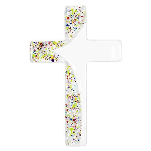 kruzifix24 Devotionalien Glaskreuz weiß Verzierung modern Bunte Punkte Fusingglas Handarbeit 20 x 13 cm Glas Wandkreuz Schmuckkreuz für die Wand Wandschmuck Unikat Handarbeit