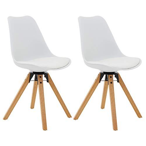 IDIMEX Esszimmerstuhl Bolivia im Retro Design, Küchenstuhl Essstuhl Polsterstuhl, drehbar, im 2er Set, Kunstleder in weiß