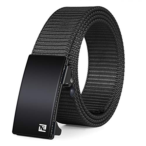 Fairwin Ratchet Web Belt,1.25 inch Nylon Web Automatic Slide Buckle Belt - No Holes and Invisible Belt Tail Web Belt for...
