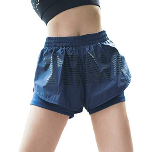 Pantalones Cortos Deportivos de Cintura elástica de Dos Piezas Falsos para Mujer Pantalones Cortos Deportivos Ligeros y Transpirables de Secado rápido para Gimnasio Large