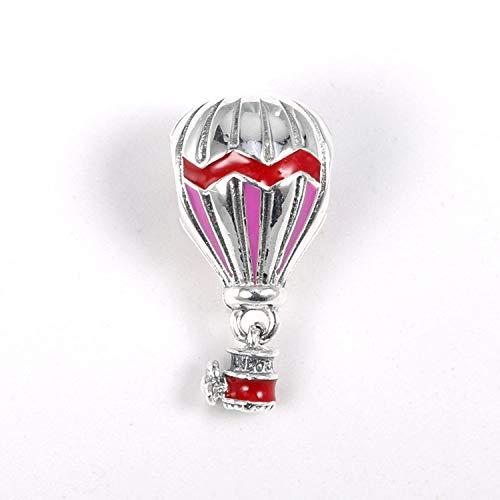 925 zilveren kraal bedeltje voor vrouwen, creatief modieus rood druppelend hete lucht ballon vorm armband ketting bedeltjes voor dames/meisje/moeder/dochter verjaardag cadeau festival huidige jurk Collocation
