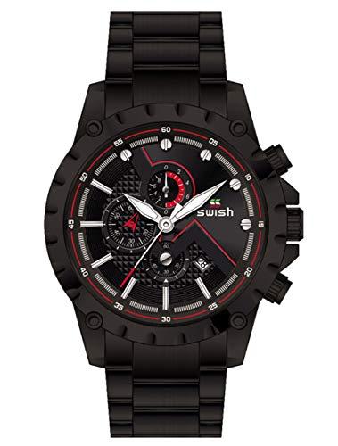 MLHXHX Reloj de hombre, de negocios, de moda, reloj de tres ojales, de seis manos, con calendario, correa de acero, color negro