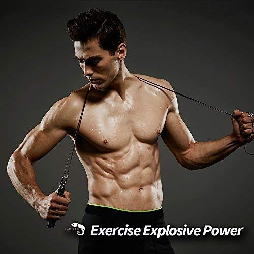 Kamileo Jump Rope, Adjustable Speed Jump Rope for Boxing MMA Fitness CrossFit Workout, Aluminum Anti-Slip Handles (with eBook, Poster, Cooling Towel Carry Bag, Cable Protector)