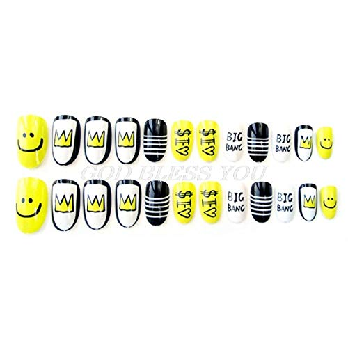 CSCH Faux ongles 24Pcs/Pack Cute Multicolor French False Nails Nail Art Yellow Funny Design Nail Tips S12