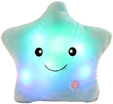 sofipal LED Twinkle Star Shaped Plush Pillow, Creative Night Light Glowing Cushions Plush Stuffed Toys Gifts for Kids, Decoration (Blue)
