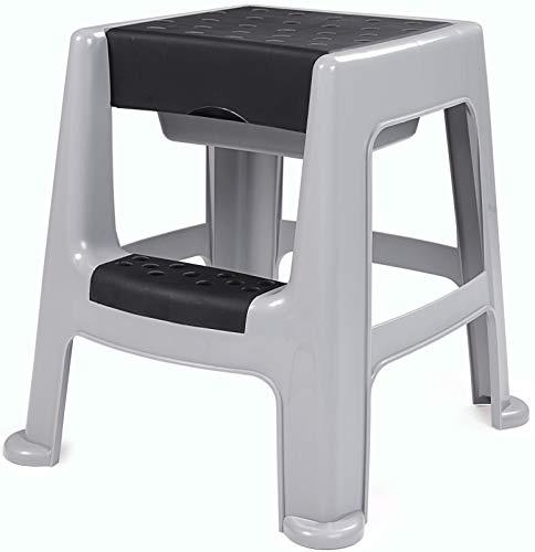 Ondis24 Stabiler Hocker mit Trittleiter Sitzhocker mit Staufach sicherer Stand Garten-Hocker bis 150 kg Aufstiegshilfe