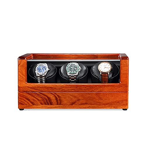zyy Enrollador de reloj para 1-4 relojes automáticos caja de madera maciza con motores, alimentado por batería o adaptador de CA, 5 modos de rotación (color: negro, tamaño: 3 epitope)