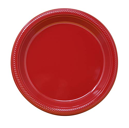 7' Heavy Duty Plastic Disposable Plates, Classic Red, Pack of 50, Great for Parties