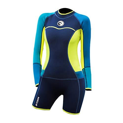 iYmitz 1.5 MM Damen Taucheranzug Anti-UV Einteiliger Badeanzug Langarm Frauen Neoprenanzug Schwimmen Shorts(Dunkelblau,M)