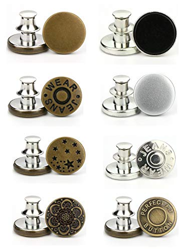 E-Uli Instant Buttons Replacement Removable Button 8 Pcs No Sew Buttons for Jeans Pants,Crafts DIY Clothes (Size: 17mm)