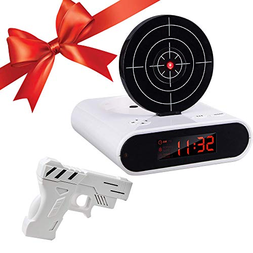 Konesky Despertador Objetivo, Despertador de Juegos de Disparos con Pistola Efectos de Sonido Realistas Disparar Juguetes Objetivo Hora Mostrar Despertador Mesita de Noche Reloj Regalo