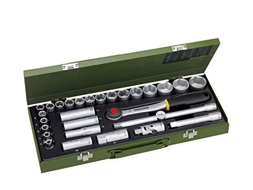 PROXXON Steckschlüsselsatz, Für die kraftvolle Mechanik mit 1/2'-Umschaltratsche, 29-teiliges Werkzeug-Set mit Stahlkasten, 23000