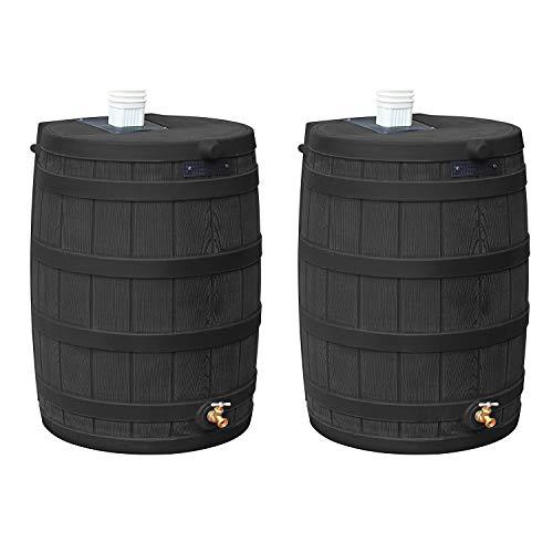Good Ideas Rain Wizard 50 Gallon Plastic Rain Barrel Water Collector with Brass Spigot, Black (2 Pack)