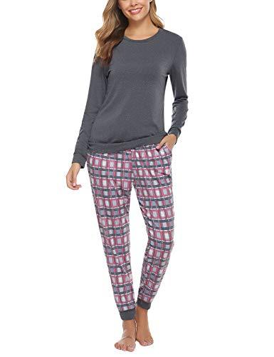 Aibrou Damen Pyjama Schlafanzug Lang Zweiteilige Nachtwäsche Hausanzug Sleepwear aus Baumwolle Langarm Rundhalsausschnitt mit Karierte Hose (Dunkelgrau, Small)