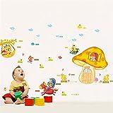 Yugipotu 3D Creativas Hidrófugo Desmontable Autoadhesiva PVC Pegatina Pared Pegatinas Decorativas Wall Stickers Sala de Estar Dormitorio DIY Decoración Casa De Setas