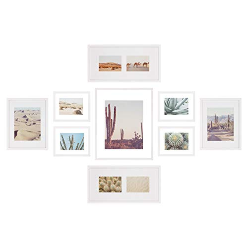 Gallery Perfect 9 Piece Floating Picture Hanging Template Gallery Wall Frame Set, White