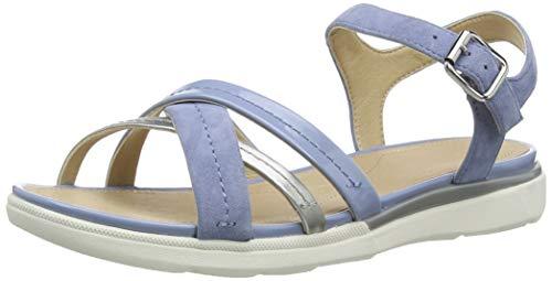 Geox D Sandal Hiver A, Sandalias con Punta Abierta para Mujer, Azul (LT Blue/Silver C0009), 35 EU