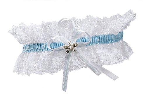 BrautChic Hochzeitsstrumpfband funkelnde Kristalle in Schmetterlingsform Elfenbein, EXTRA WEIT(XL/XXL)-Einheitsgröße, Weiß/Blau
