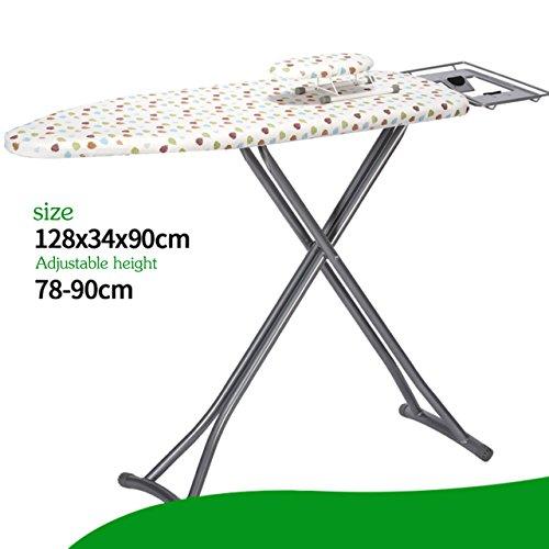LWXTY Opvouwbare brede strijkplank, Verstelbare hoogte extra stabiele poten ijzer board met stoomstrijkijzer rust, Met strijkplank deksel en pad-S
