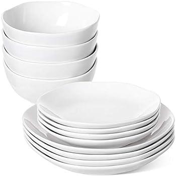 LE TAUCI 12 Piece Dinnerware Set Service for 4 person Four pcs dinner plates & 4 salad dish & 4 bowl sets - White