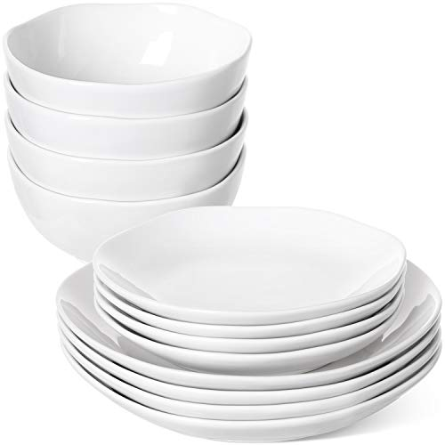 LE TAUCI 12 Piece Dinnerware Set, 4 pcs dinner plates & 4 salad dish & 4 bowl sets, Service for Four person- White
