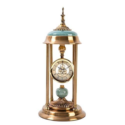 JCOCO Horloge de bureau en métal américain, silencieux salon chambre à coucher décoration classique créatif Horloge de table rétro européen, fonctionnement à piles (Couleur : B)