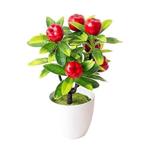 AMK Plantas Artificiales Bonsai Plantas de Maceta de árbol pequeño Plantas Artificiales en macetas para la decoración del hogar Decoración de jardín, Manzana
