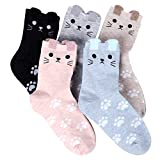 Jeasona Womens Animal Socks Cute Funny Novelty Cotton Cat Gifts for Cat Lovers Gifts for Women (Cat)