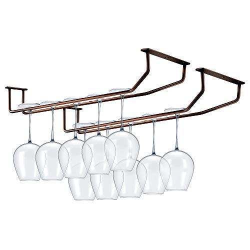 Hokyzam - Soporte de metal para copas de vino, soporte de pared chapado en cromo con tornillos para bar, cocina, pub, bronce