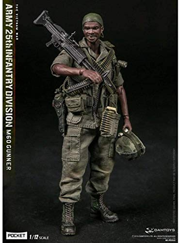 1/12 scale Army Military Action Figure 6 Inch US Army 25th Infantry Division M60 Gunner Field Train Flexible Male Soldier model Collection Military Toys Playset