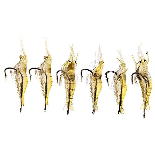 FJJ-DIAOYU, 6 unids Soft Shrimp Bait Artificial Simulation Prawn Insecto Lure Ultra Realista Soft Faked Shrimp Fishing Tackle