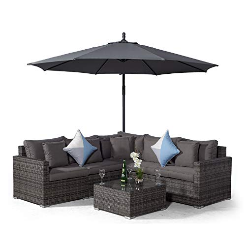 Giardino Havana 5 Seat Grey Rattan Corner Sofa Set + Coffee Table + 3m Parasol + Outdoor Furniture Covers | 7 piece L Shaped Poly Rattan Garden Sofa Set | Patio Outdoor Corner Sofa with Sun Loungers