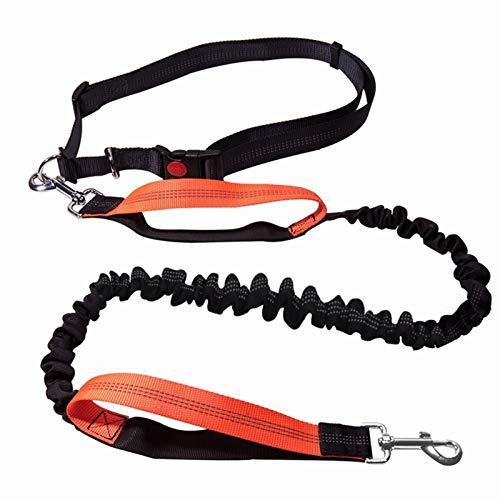 MGHN Correa de Perro Correa de Perros La Elasticidad de la Elasticidad Mano libremente Productos para Mascotas Perros Cuello de arnés de Cuello para Correr y Cintura Ajustable Cuerda