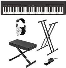 Yamaha P-45 Compact 88-Key Portable Digital Piano + Keyboard Stand + Keyboard Bench + Keyboard Pedal + Studio Monitor Headphones