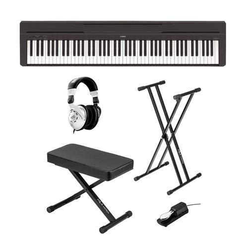 Yamaha P-45 Compact 88-Key Portable Digital Piano + Keyboard Stand + Keyboard Bench + Keyboard Pedal + Studio Monitor Headphones