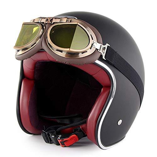 GXYS Casco Moto Jet Retro Harley Mezzo Mezzo Casco con Occhiali Certificato DOT Cruiser Chopper Skateboard Ciclomotore Casco Jet Pilota Open Face Adulto Casco Anticollisione,E-M=(57~58cm)