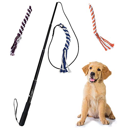 SYOOY Interactive Dog Toy Extendable Teaser Wand Pet Teasing Flirt Pole Fun Toy with 3 Chewing Cotton Rope Tail for Outdoor Obedience Chasing Pulling Training Exercising