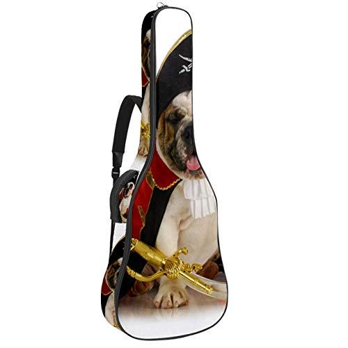 Bennigiry Perros piratas Bulldog Uniforme Animales Guitarras Bolsa de Guitarra Acústica Bolsa de Transporte para Guitarrista