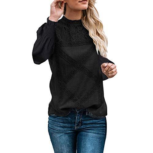 TIFIY Winter Damen Spitze Patchwork Pullover Langarm Floral Bluse Ausgestelltes Rüschen Sweatshirt Lässige Top(A_b_Schwarz,Small