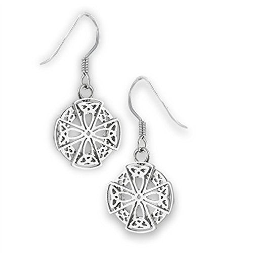 316L Stainless Steel Celtic Cross Dangle French Wire Earrings