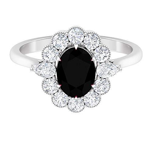 Rosec Jewels - 14 Kt Weißgold Oval Birne Rund Black Künstlicher schwarzer Diamant. Diamant