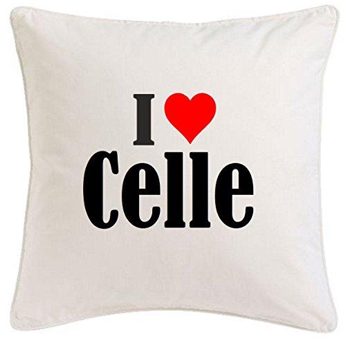 """Kissenbezug """"I Love Celle"""" 40cmx40cm aus Mikrofaser ... ideales Geschenk und geschmackvolle Dekoration für jedes Wohnzimmer oder Schlafzimmer in Weiß mit Reißverschluss"""