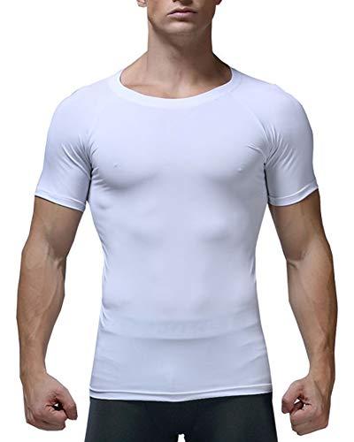 MISSMAO_FASHION2019 Herren Sportshirt,Schnelltrocknend Atmungsaktiv kurzärmlig Sporthemd,Kompression T-Shirt Funktionsshirt Weiß L