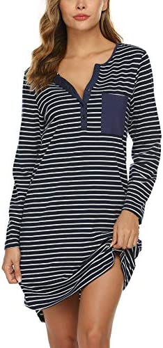 Ekouaer Women s Nightshirt Long Sleeve Button Down Nightgown V Neck Sleepwear Pajama Dress product image