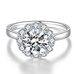 Bonlavie Women's 925 Sterling Silver 3.5ct Brillant Solitaire Round Cut White Cubic Zirconia Engagement Wedding Promise Ring for Girlfriend Lover (S 1/2) #1