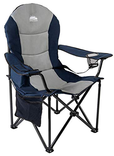 Coastrail Outdoor Camping Chair with Lumbar Back Support, Oversized Padded Lawn Chair Folding Quad Arm Chair with Cooler Bag, Cup Holder & Side Pocket, Supports 400lbs