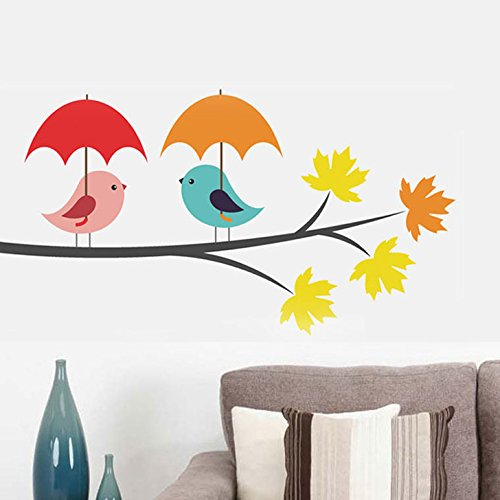 Decals Design 'Birds Under Umbrella' Wall Sticker (PVC Vinyl, 25 cm x 70 cm)